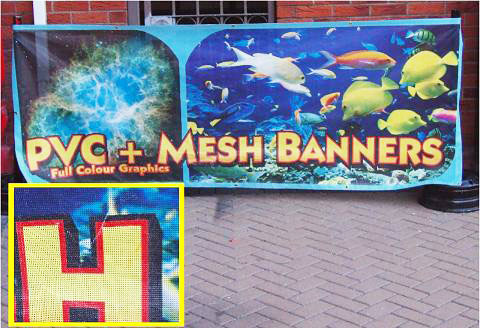 Mesh banner with detail