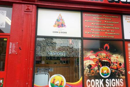 Cork Signs window