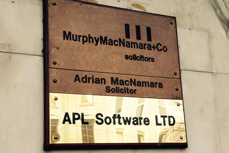 APL Software brass plate