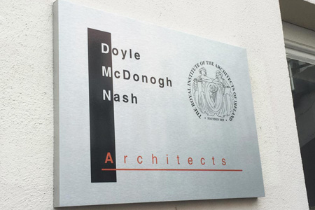 DMN Architects brushed di-bond plaque with folded edges