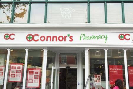 O'Connors Pharmacy di-bond raised letters