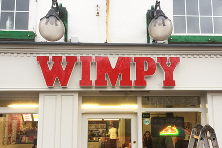 Wimpy letters with LED's